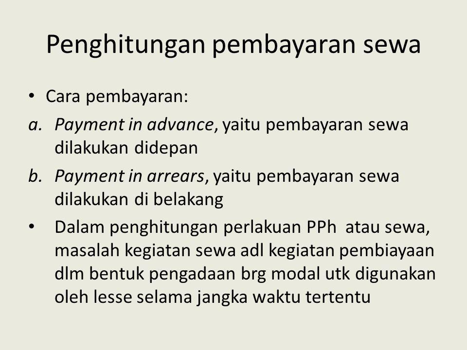 Penghitungan pembayaran sewa