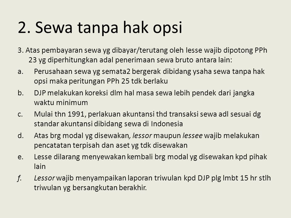 2. Sewa tanpa hak opsi