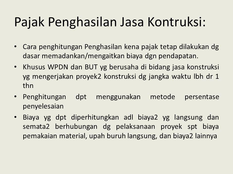 Pajak Penghasilan Jasa Kontruksi: