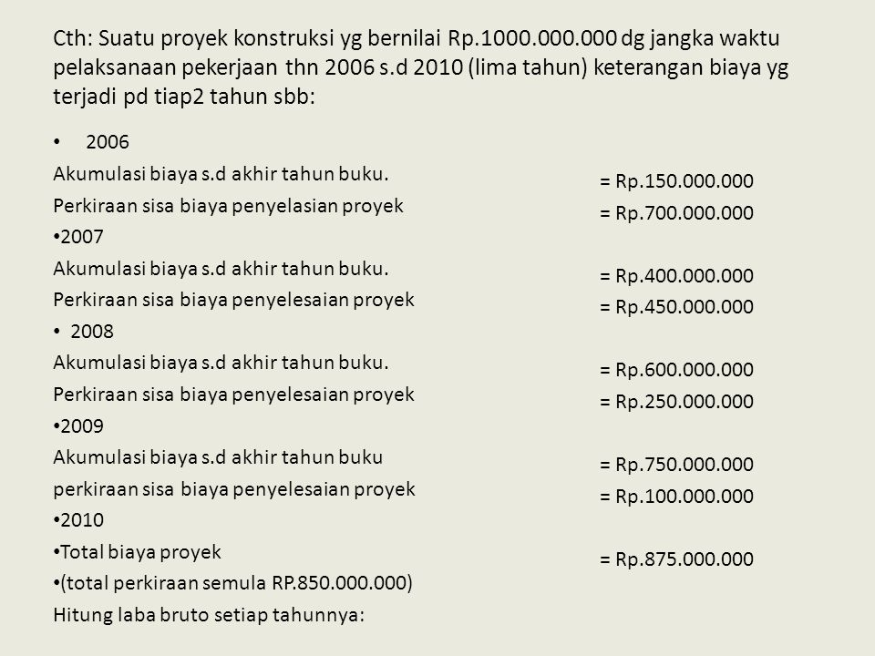 Cth: Suatu proyek konstruksi yg bernilai Rp. 1000. 000