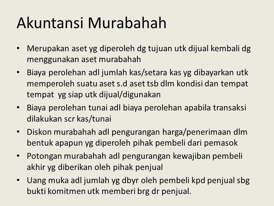 Akuntansi Murabahah Merupakan aset yg diperoleh dg tujuan utk dijual kembali dg menggunakan aset murabahah.