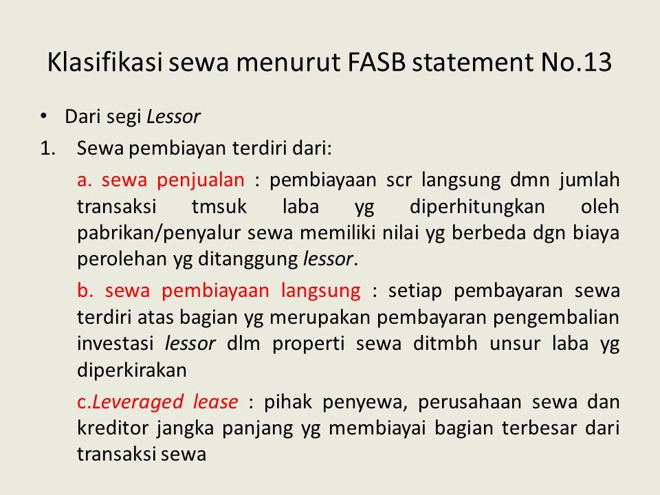 Klasifikasi sewa menurut FASB statement No.13