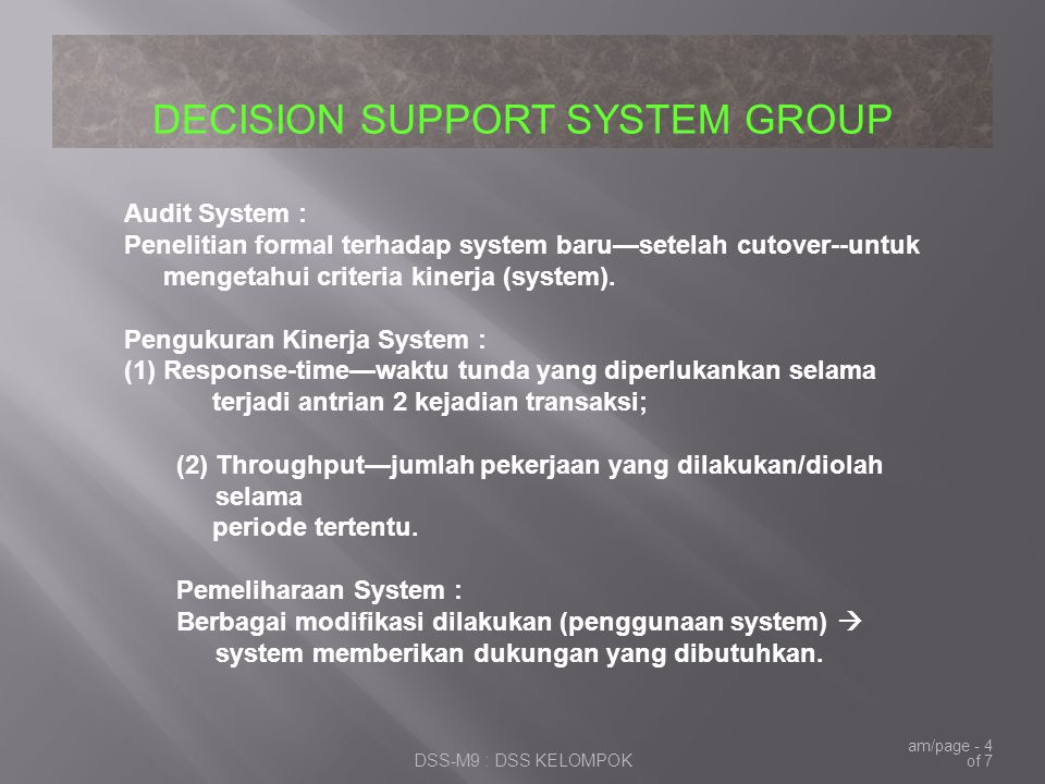 Pengukuran Kinerja System :