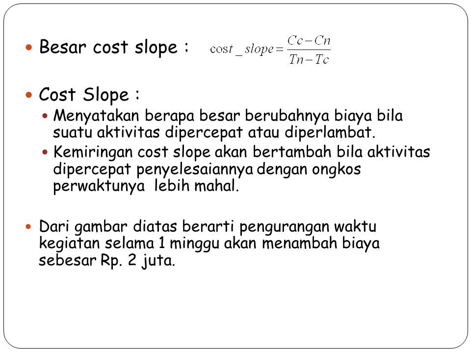 Besar cost slope : Cost Slope :