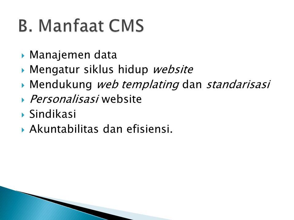 B. Manfaat CMS Manajemen data Mengatur siklus hidup website