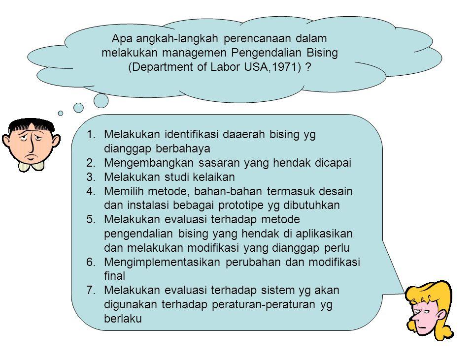 Apa angkah-langkah perencanaan dalam melakukan managemen Pengendalian Bising (Department of Labor USA,1971)