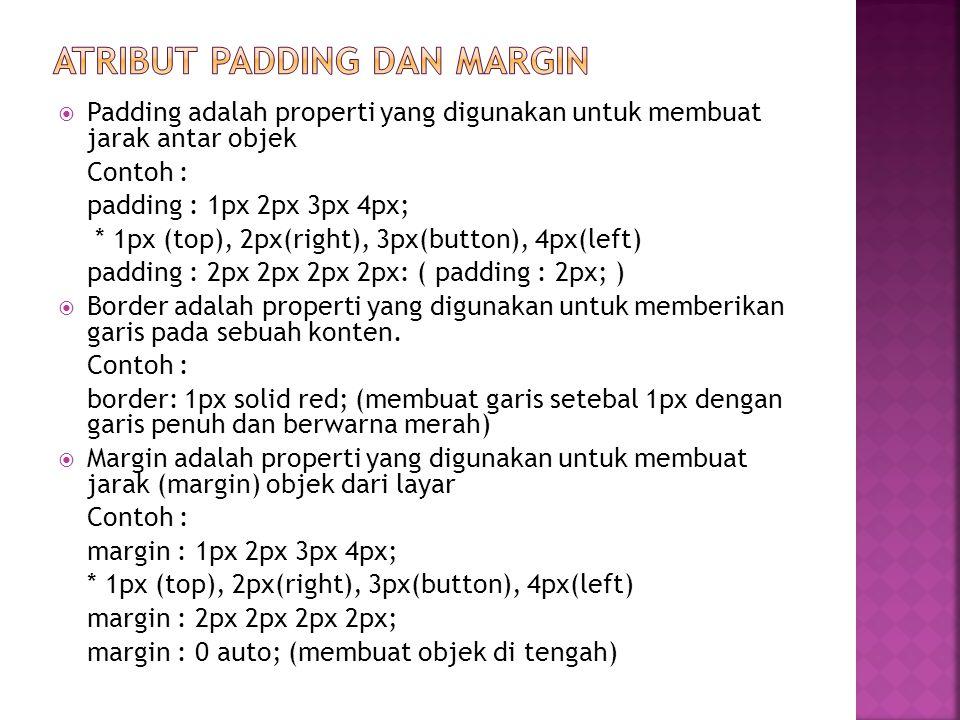 Atribut padding dan margin