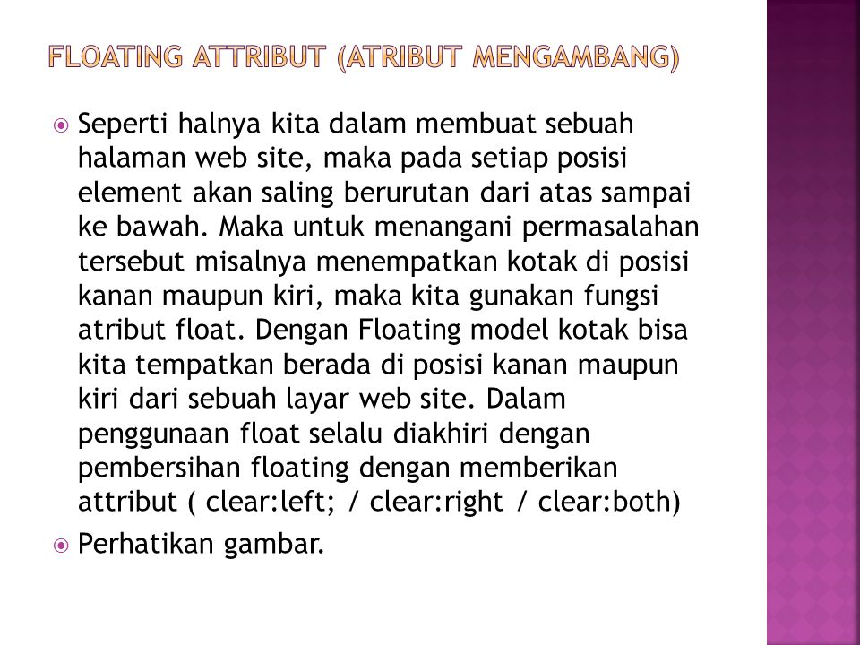 FLOATING attribut (atribut mengambang)