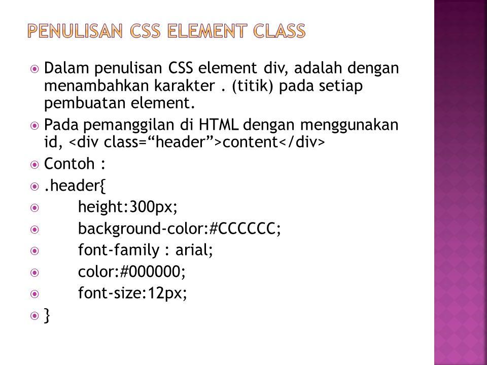 Penulisan css ELEMENT class