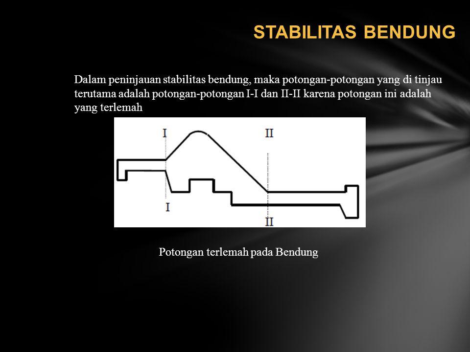 STABILITAS BENDUNG Dalam peninjauan stabilitas bendung, maka potongan-potongan yang di tinjau.