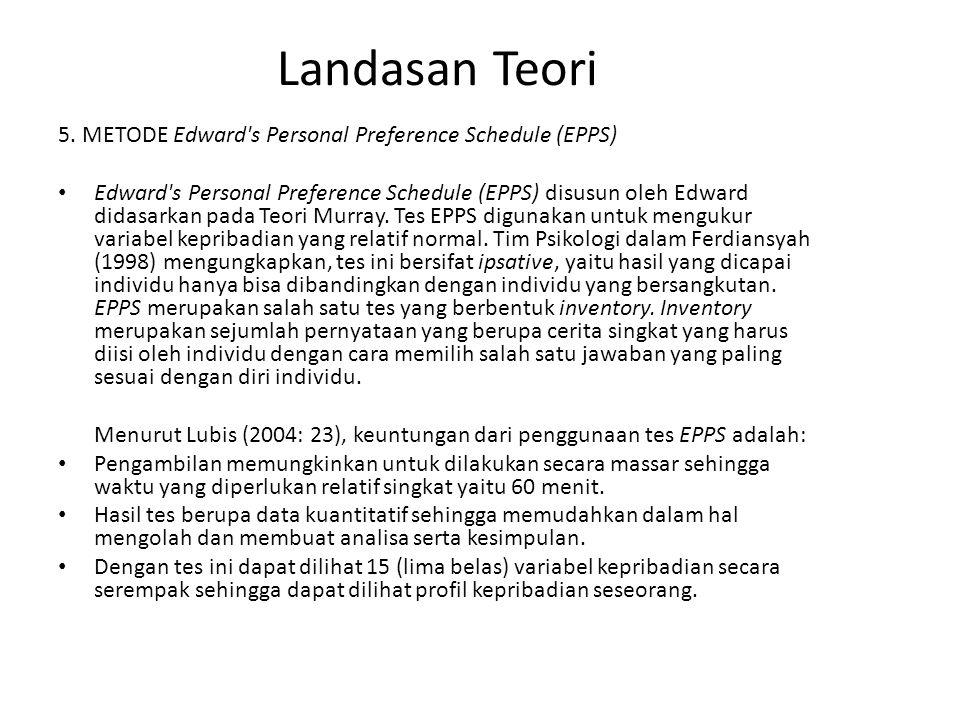 Landasan Teori 5. METODE Edward s Personal Preference Schedule (EPPS)