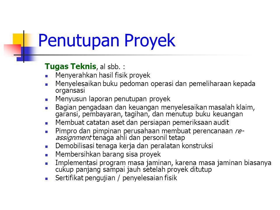 Penutupan Proyek Tugas Teknis, al sbb. :