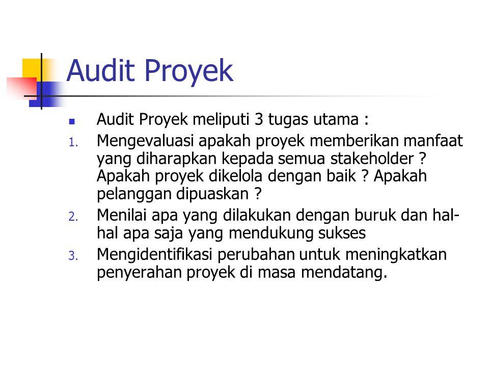 Audit Proyek Audit Proyek meliputi 3 tugas utama :