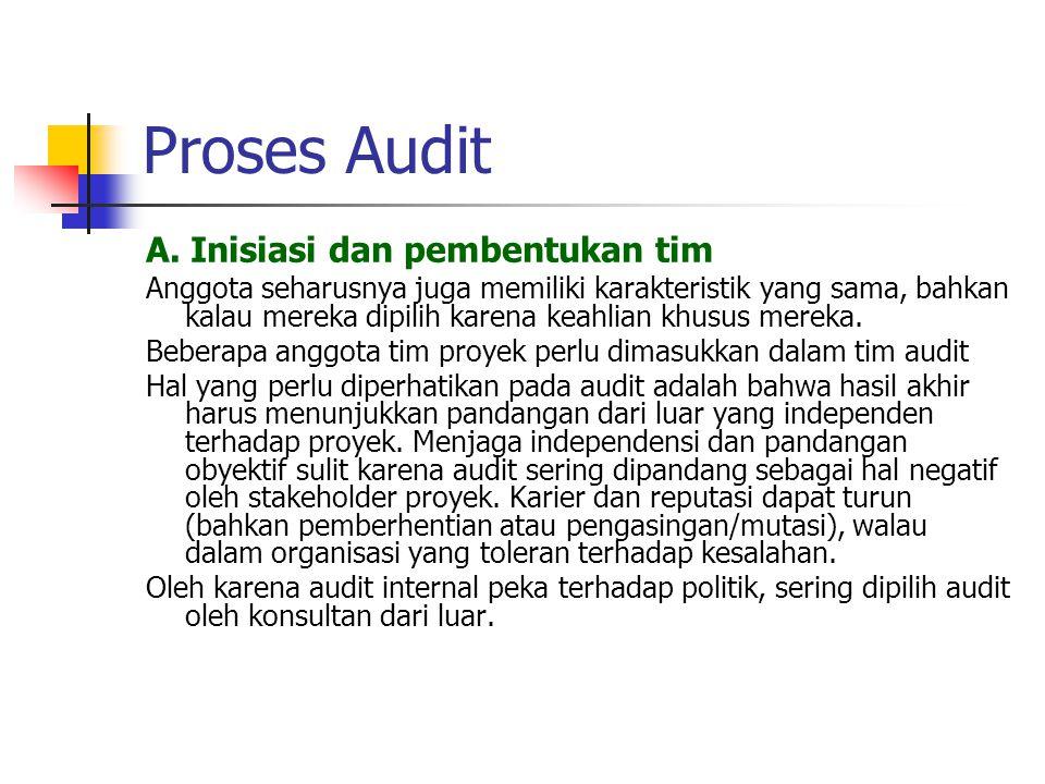 Proses Audit A. Inisiasi dan pembentukan tim