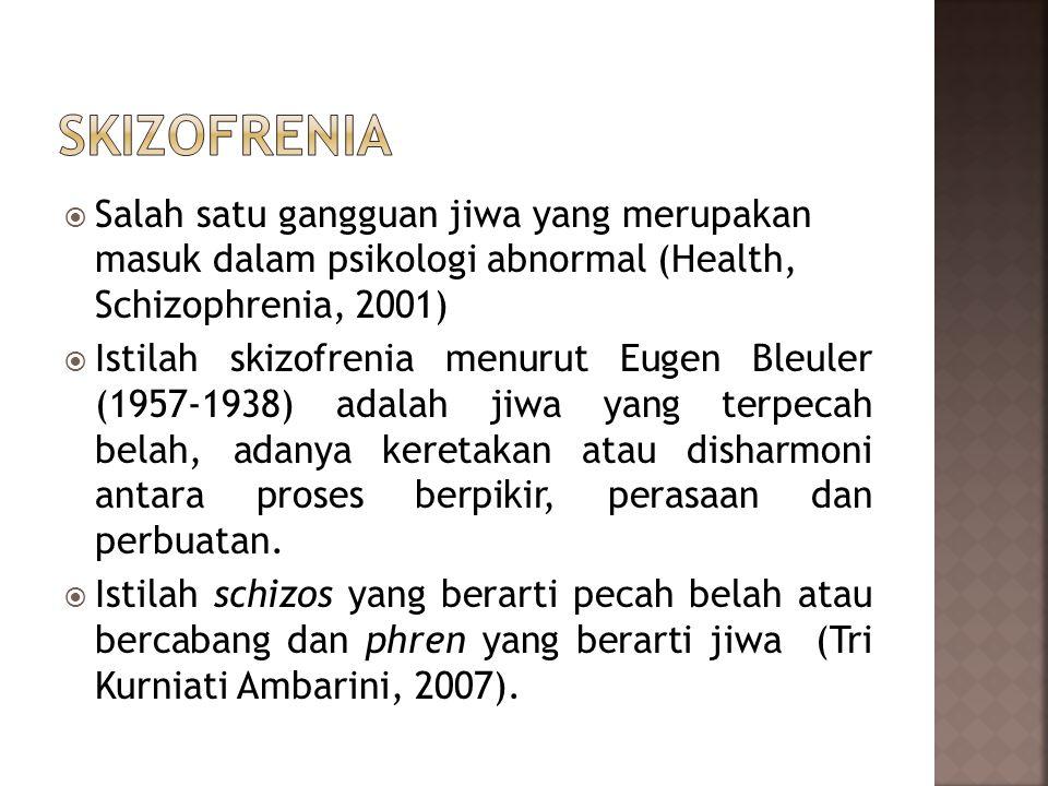 SKIZOFRENIA Salah satu gangguan jiwa yang merupakan masuk dalam psikologi abnormal (Health, Schizophrenia, 2001)