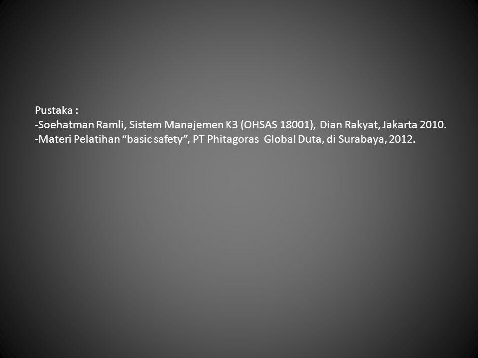 Pustaka : Soehatman Ramli, Sistem Manajemen K3 (OHSAS 18001), Dian Rakyat, Jakarta 2010.