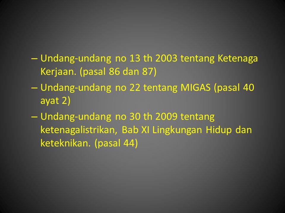 Undang-undang no 13 th 2003 tentang Ketenaga Kerjaan. (pasal 86 dan 87)