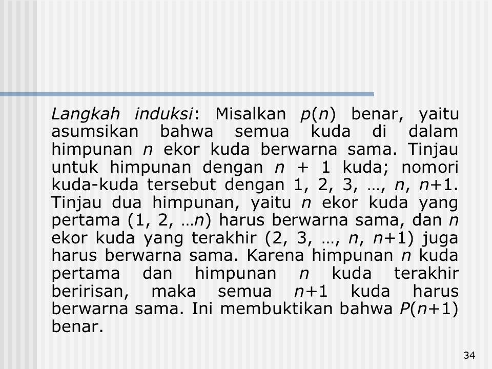 Langkah induksi: Misalkan p(n) benar, yaitu asumsikan bahwa semua kuda di dalam himpunan n ekor kuda berwarna sama.