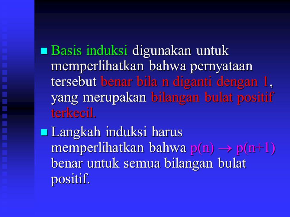 Basis induksi digunakan untuk memperlihatkan bahwa pernyataan tersebut benar bila n diganti dengan 1, yang merupakan bilangan bulat positif terkecil.