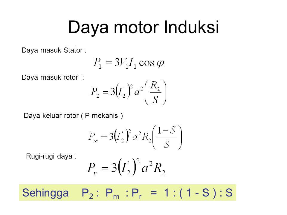 Daya motor Induksi Sehingga P2 : Pm : Pr = 1 : ( 1 - S ) : S