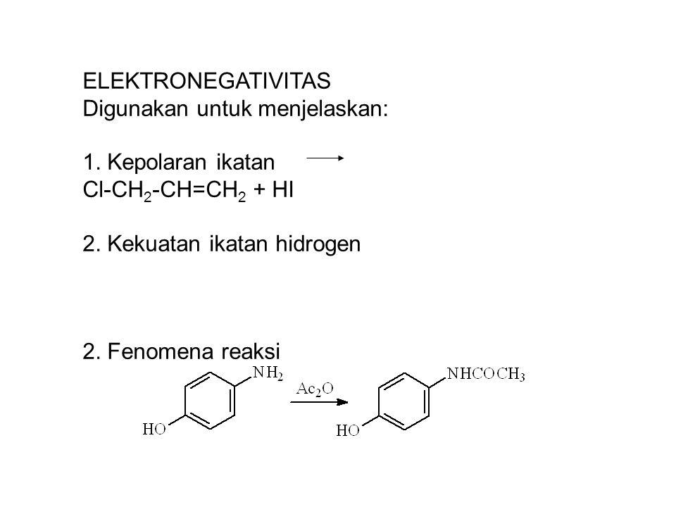 ELEKTRONEGATIVITAS Digunakan untuk menjelaskan: 1. Kepolaran ikatan. Cl-CH2-CH=CH2 + HI. 2. Kekuatan ikatan hidrogen.