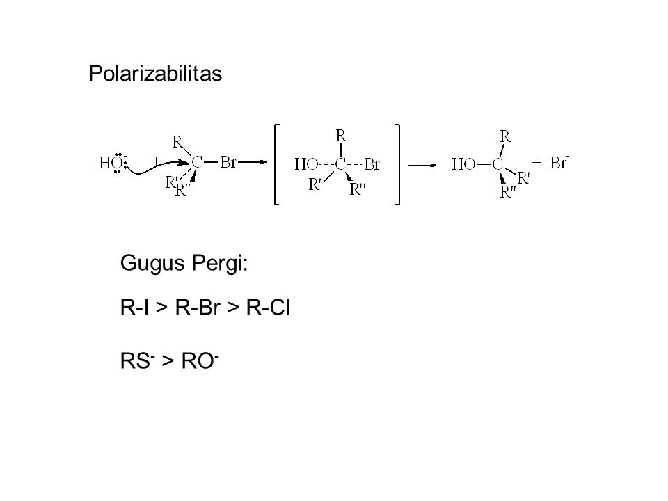 Polarizabilitas Gugus Pergi: R-I > R-Br > R-Cl RS- > RO-