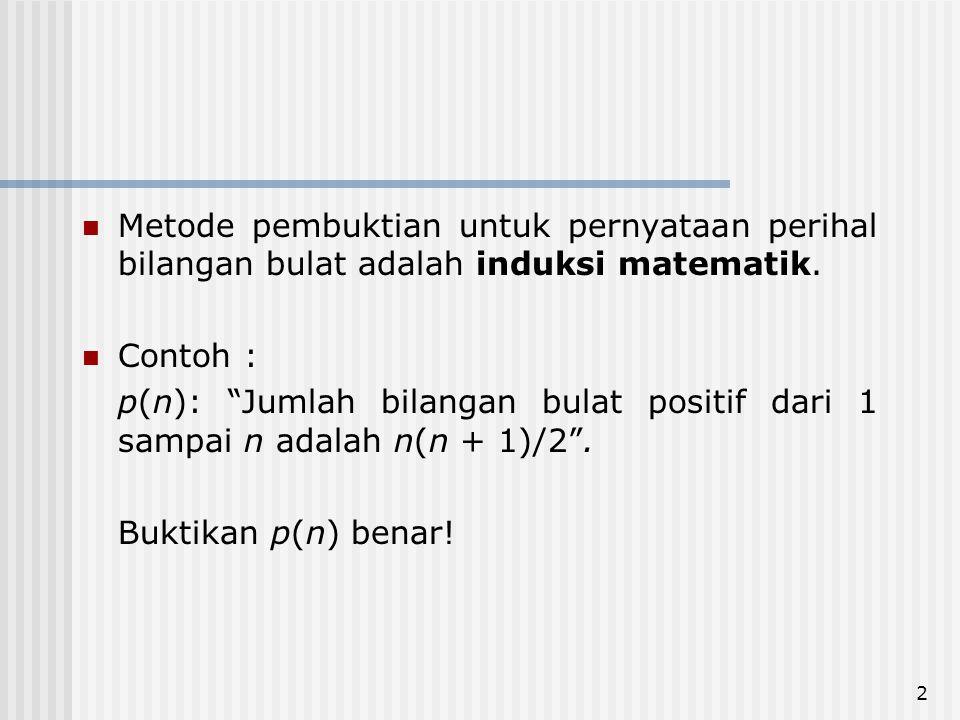 Metode pembuktian untuk pernyataan perihal bilangan bulat adalah induksi matematik.