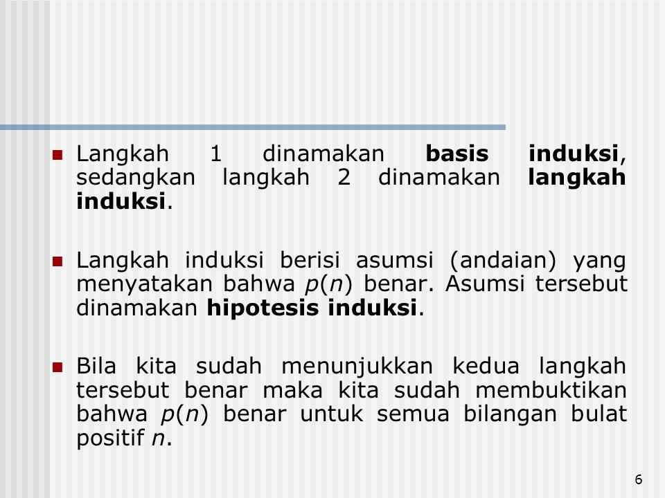 Langkah 1 dinamakan basis induksi, sedangkan langkah 2 dinamakan langkah induksi.