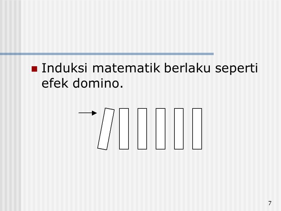 Induksi matematik berlaku seperti efek domino.