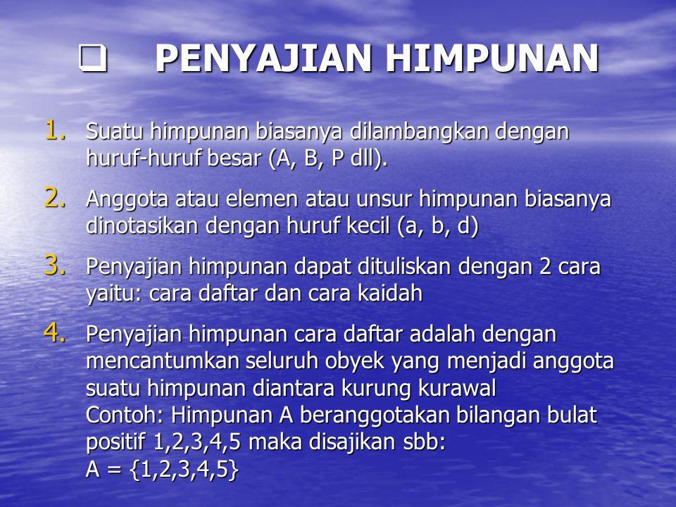 PENYAJIAN HIMPUNAN Suatu himpunan biasanya dilambangkan dengan huruf-huruf besar (A, B, P dll).