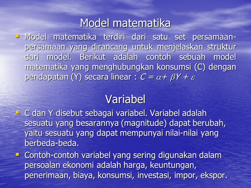 Model matematika Variabel