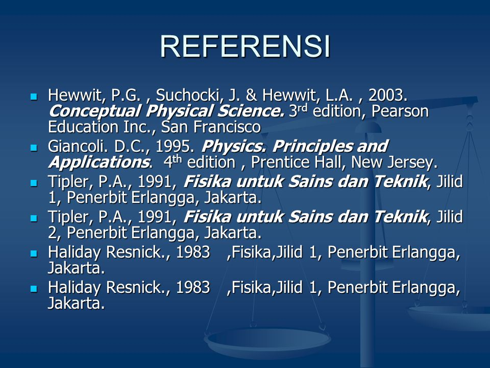 REFERENSI Hewwit, P.G. , Suchocki, J. & Hewwit, L.A. , 2003. Conceptual Physical Science. 3rd edition, Pearson Education Inc., San Francisco.