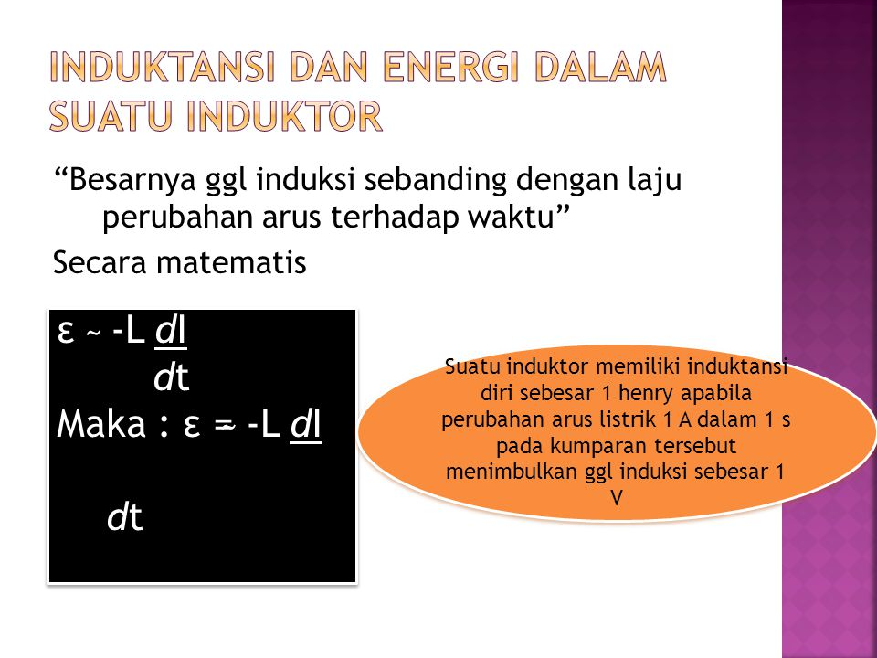 INDUKTANSI DAN ENERGI DALAM SUATU INDUKTOR