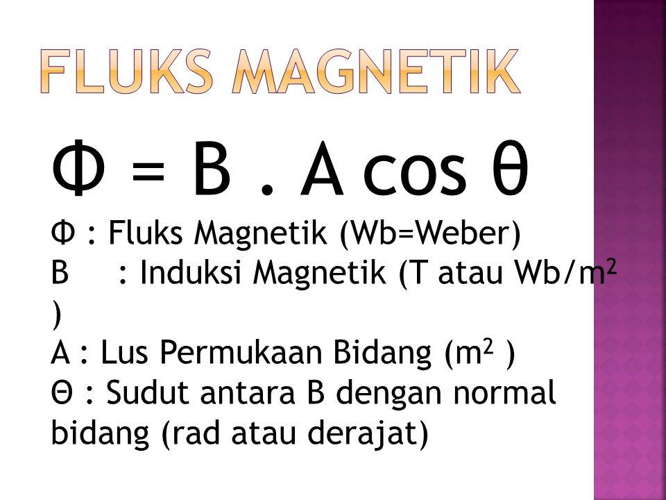 Φ = B . A cos θ FLUKS MAGNETIK Φ : Fluks Magnetik (Wb=Weber)