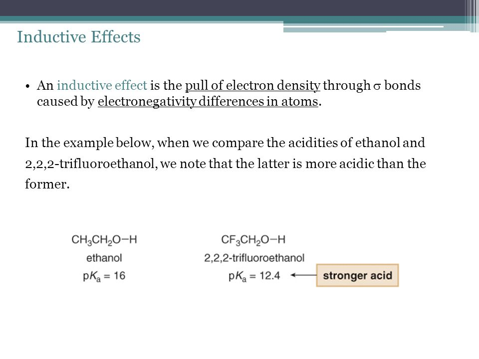 Inductive Effects An inductive effect is the pull of electron density through  bonds caused by electronegativity differences in atoms.