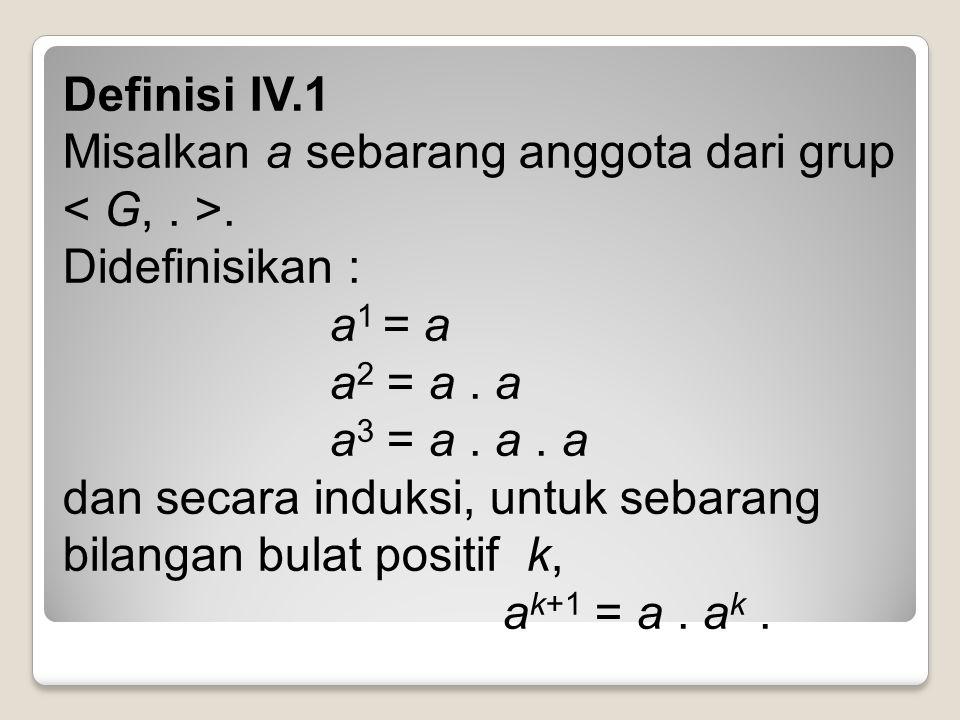 Definisi IV. 1 Misalkan a sebarang anggota dari grup < G,. >