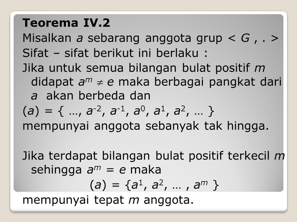 Teorema IV.2 Misalkan a sebarang anggota grup < G , . > Sifat – sifat berikut ini berlaku :