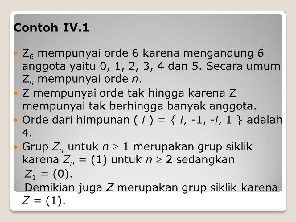Contoh IV.1 Z6 mempunyai orde 6 karena mengandung 6 anggota yaitu 0, 1, 2, 3, 4 dan 5. Secara umum Zn mempunyai orde n.