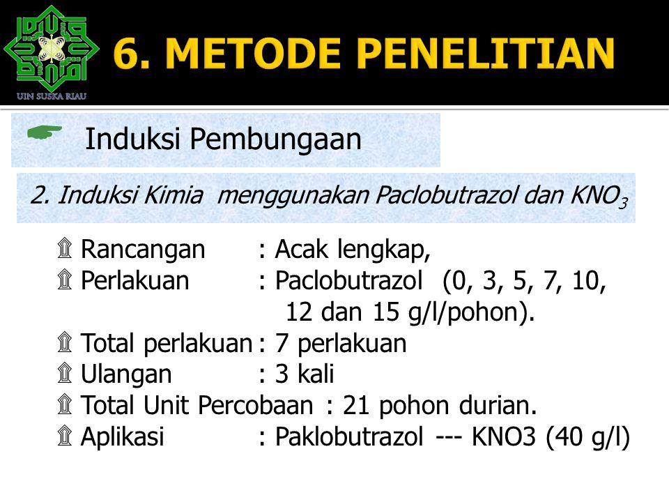 6. METODE PENELITIAN Induksi Pembungaan Rancangan : Acak lengkap,