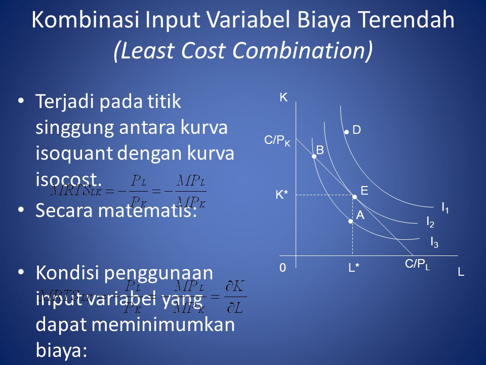 Kombinasi Input Variabel Biaya Terendah (Least Cost Combination)