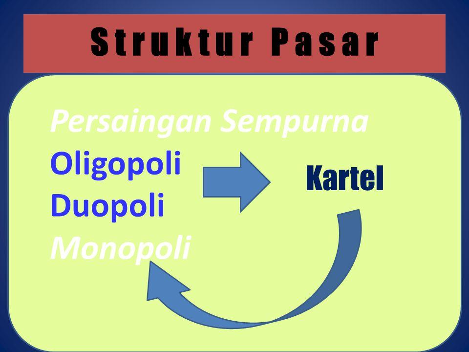 S t r u k t u r P a s a r Persaingan Sempurna Oligopoli Duopoli