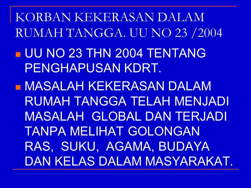 KORBAN KEKERASAN DALAM RUMAH TANGGA. UU NO 23 /2004