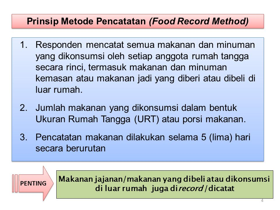 Prinsip Metode Pencatatan (Food Record Method)