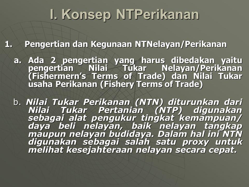 I. Konsep NTPerikanan 1. Pengertian dan Kegunaan NTNelayan/Perikanan