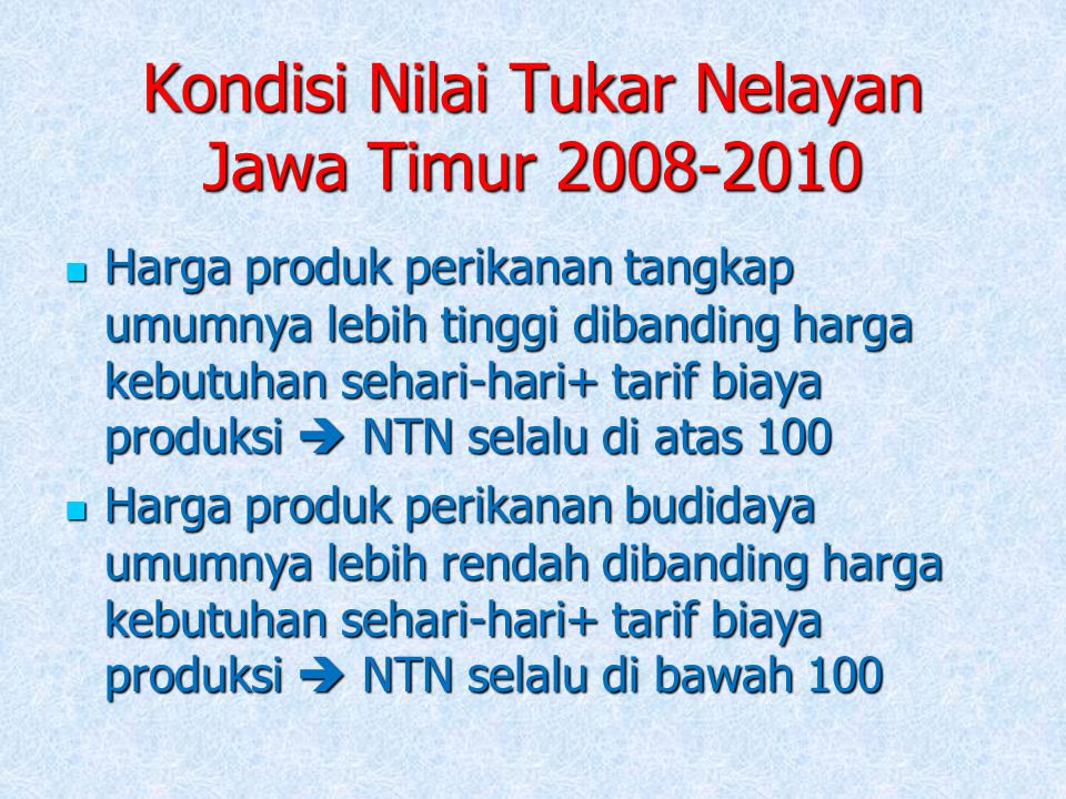 Kondisi Nilai Tukar Nelayan Jawa Timur 2008-2010