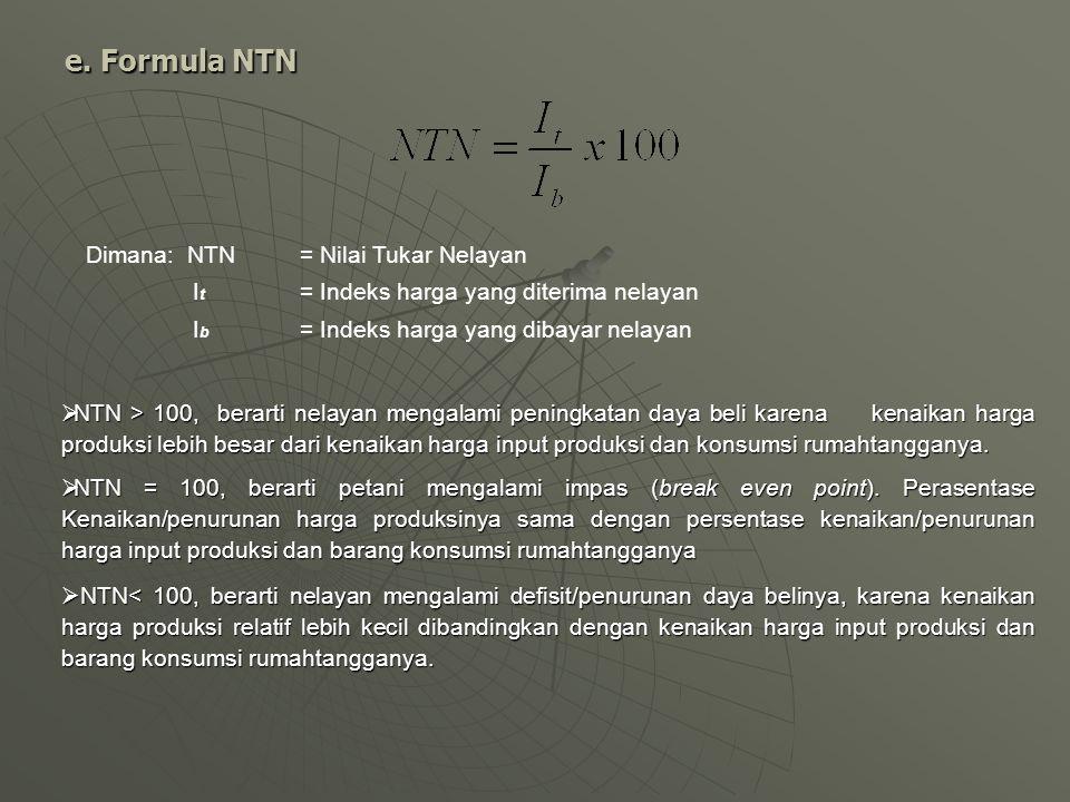 e. Formula NTN Dimana: NTN = Nilai Tukar Nelayan