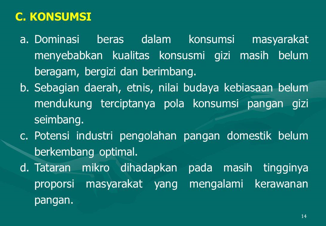 C. KONSUMSI Dominasi beras dalam konsumsi masyarakat menyebabkan kualitas konsusmi gizi masih belum beragam, bergizi dan berimbang.