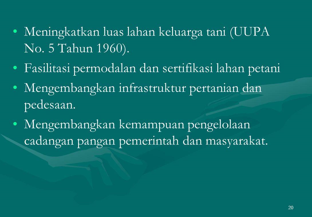 Meningkatkan luas lahan keluarga tani (UUPA No. 5 Tahun 1960).