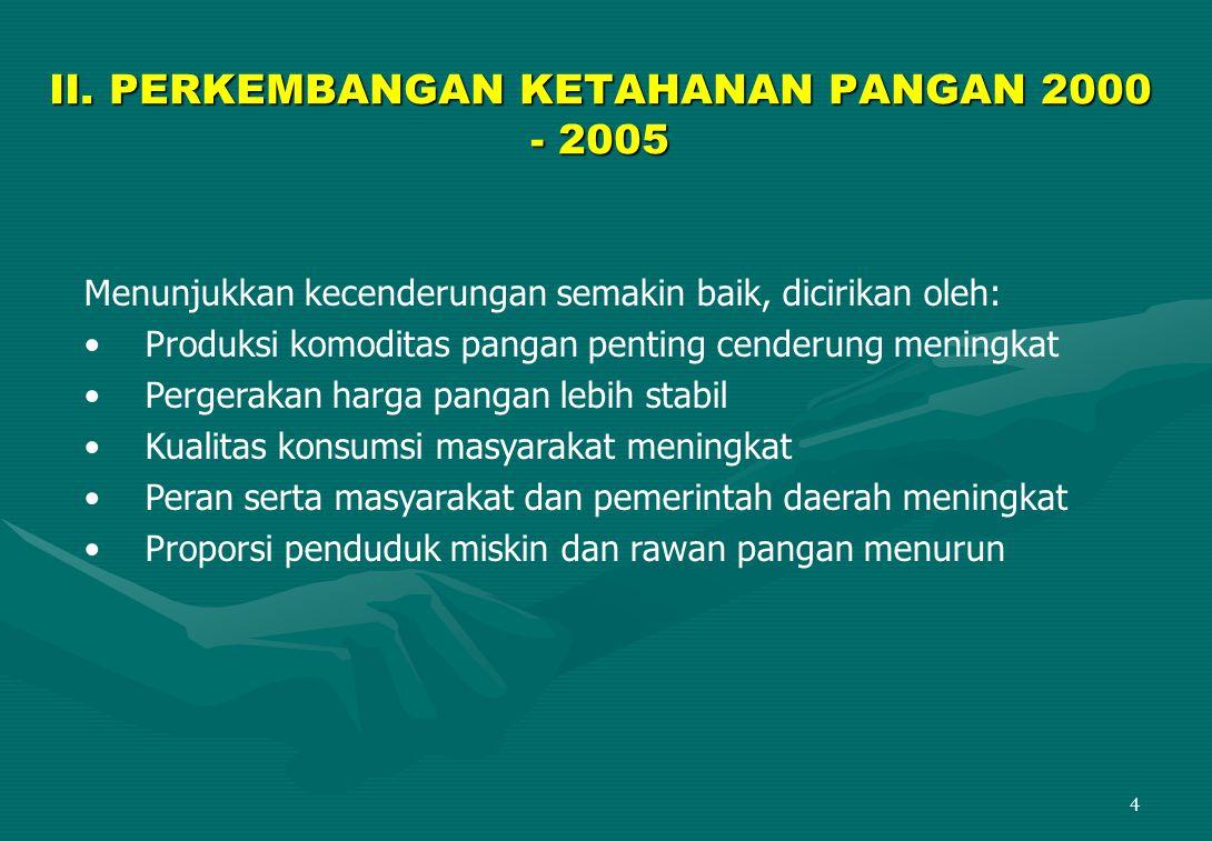 II. PERKEMBANGAN KETAHANAN PANGAN 2000 - 2005