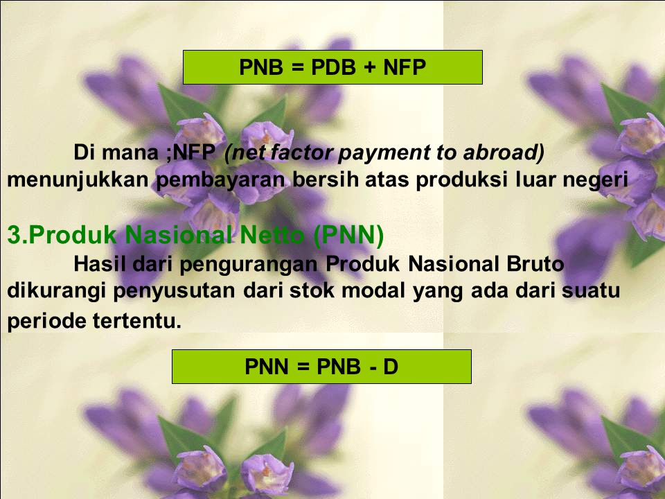 Di mana ;NFP (net factor payment to abroad) menunjukkan pembayaran bersih atas produksi luar negeri 3.Produk Nasional Netto (PNN) Hasil dari pengurangan Produk Nasional Bruto dikurangi penyusutan dari stok modal yang ada dari suatu periode tertentu.